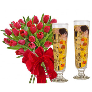 Monica # 9 - Tulips and Cocktail Glasses