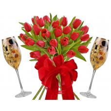Monica # 10 - Tulips and champagne glasses