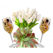 Bianca # 8 - Tulips and 2 White Wine Glasses