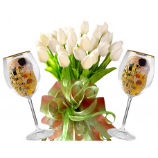 Bianca # 9 - Tulips and Red Wine Glasses