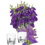 Gabriella # 4 - Flowers and Set of 2 whiskey glasses