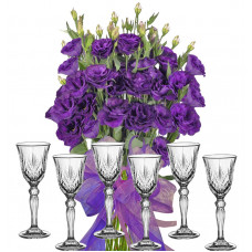 Gabriella # 3 - Flowers and Set of Brandy Glasses