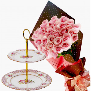 Pretty in pink # 1 - Roses & 2 Tier Cake Plate