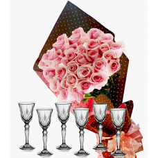 Pretty in pink # 3 - Roses and  Wine Set