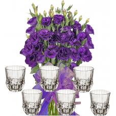 Gabriella # 5 - Flowers and Whiskey Glasses Set of 6
