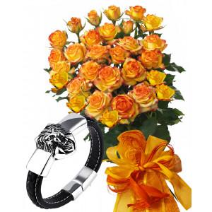 Alegra # 8 - Rose Bouquet  and Men's Lion Bracelet