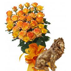 Alegra # 10 - Rose Bouquet  and Lion statuette