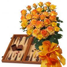 Alegra # 11 - Rose Bouquet  and Wood Backgammon Vertini