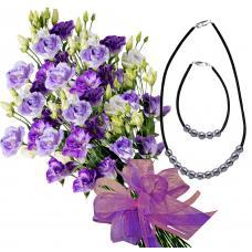 Claudia # 5- Eustoma bouquet, Necklace and Bracelet