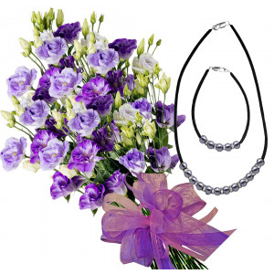 Claudia # 5- Eustoma bouquet, Necklace and Bracelet
