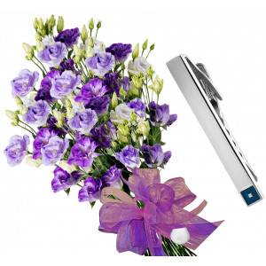 Claudia # 1- Eustoma bouquet and Tie pin