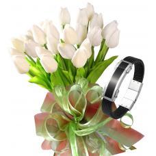 Bianca # 11 - Tulip bouquet and Plate Men's Bracelet