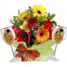 Spring time # 2 - Flowers and  White Wine Glasses
