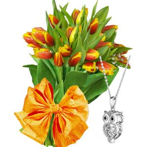 April # 2 - Tulips and Owl Pendant