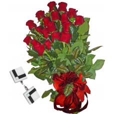 Red roses & Cufflinks black and white