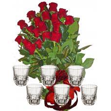 Red roses &  6 Whiskey Set