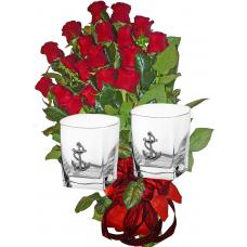 Red roses & 2 Whiskey glasses