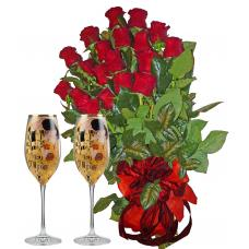 Red roses & The kiss - 2 glasses of champagne