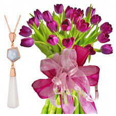 Agatha # 3 - Tulips bouquet and Aquamarine and Agate Necklace