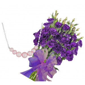 Gabriella # 2 - Flowewrs and Pink Pearl Necklace