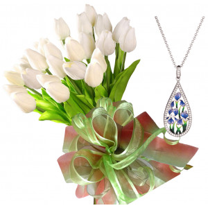 Bianca # 5 - Tulip bouquet and Blue Flowers Necklace