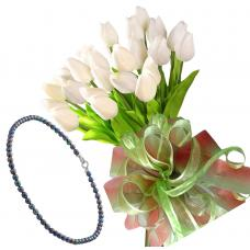 Bianca # 6 - Tulip bouquet and Black Pearls Necklace