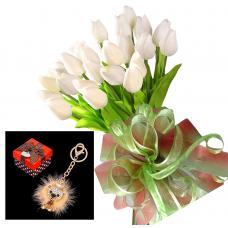 Bianca # 14 - Tulip bouquet and Lion keychain