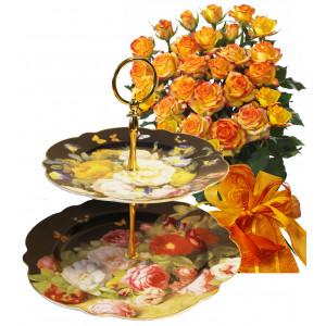 Alegra # 12 - Rose Bouquet  and 2 Tier Cake Plate