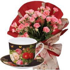 Rosabelle # 5 - Roses & Porcelain bowl with saucer