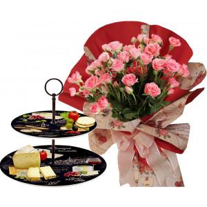 Rosabelle # 7 - Bouquet and 2 Tier porcelain plates