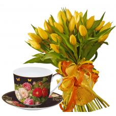 Giselle # 8 - Tulips & Porcelain bowl with saucer