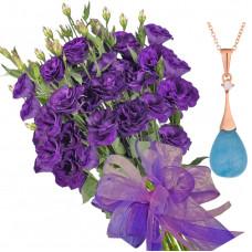 Gabriella # 11 - Bouquet of lisianthus and Aquamarine Necklace