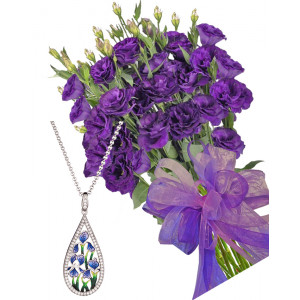 Gabriella # 12 - Bouquet of lisianthus and Blue Flowers Necklace