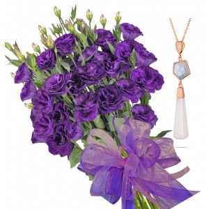 Gabriella # 13 - Bouquet of lisianthus and Aquamarine and Agate Necklace