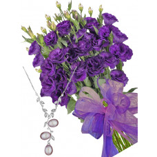 Gabriella # 14 - Bouquet of lisianthus and Aquamarine and Agate Necklace