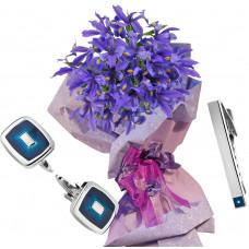 Irises # 6 - Flowers, Tie pin blue and Cufflinks