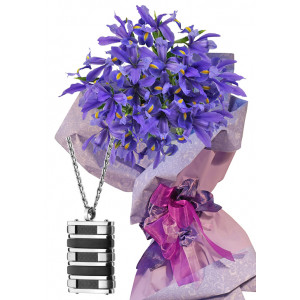 Irises # 5 - Flowers and  Men's Medallion