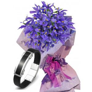 Irises # 7 - Flowers and  Men's Bracelet