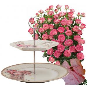 Geraldine # 2 - Roses and 2 Tiers Stand