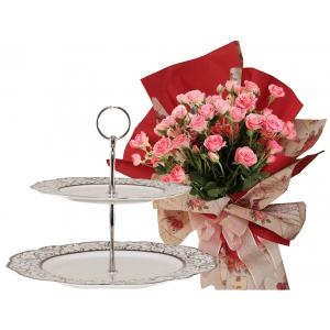 Rosabelle # 7 - Bouquet and 2 Tiers Cake Stand