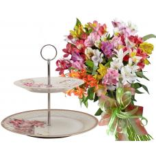 Zoe # 1 - Bouquet and 2 Tiers Cake Stand