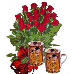 """Red roses bouquet and Mug Set """"THE KISS"""""""