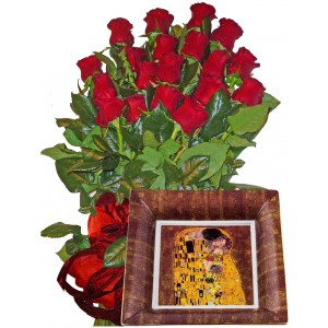 Red roses bouquet and Porcelain Plate