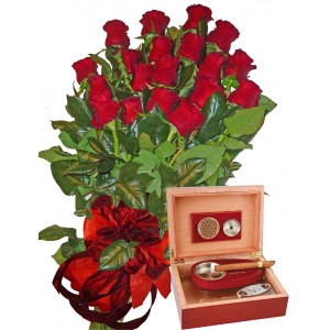 Red Roses and Wooden humidor
