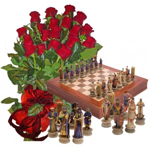 Red Roses and Historical Chess Set