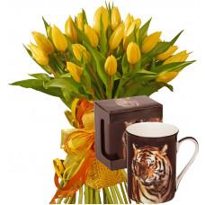 Giselle # 1- Tulip bouquet & Porcelain Tea Cup