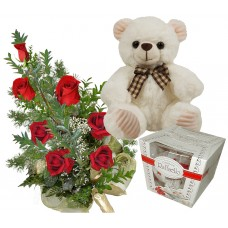 sweetheart Roses - roses, teddy and chocolates