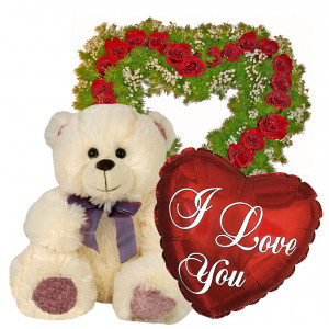 You are in my heart - Roses, Teddy and Balloon