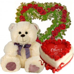 You are in my heart - roses, teddy and cake