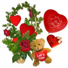 Just for you! - roses, teddy, balloon and cookie